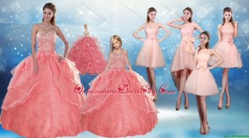 2021 Perfect Sweetheart Beading Quinceanera Dress and Cute Bownot Prom Dresses and Halter Top Watermelon Little Girl Dress