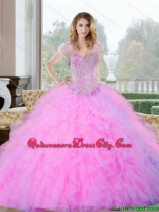 2021 Fashionable Beading and Ruffles Sweetheart Quinceanera Gown