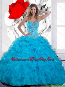 2021 Fashionable Beading and Ruffles Sweetheart Quinceanera Gown in Teal
