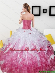 2021 Fashionable Sweetheart Sweet 15 Dresses with Beading and Ruffles