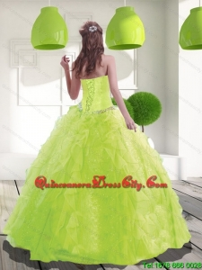 Fashionable Sweetheart Beading Quinceanera Dress in Spring Green