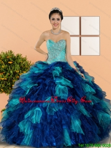 Fashionable Sweetheart Beading and Ruffles Quinceanera Dresses in Multi Color