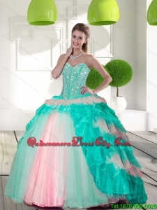 2021 Elegant Beading and Ruffled Layers Quinceanera Gowns in Multi Color