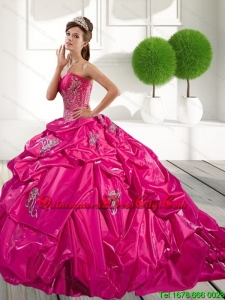 2021 Modern Appliques and Pick Ups Quinceanera Dress in Hot Pink