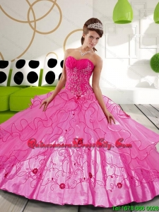 2021 Modern Hot Pink Ball Gown Quinceanera Dresses with Appliques