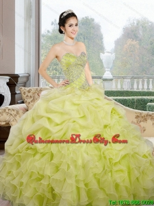 2021 Modern Sweetheart Yellow Green Quinceanera Dresses with Ruffles and Pick Ups
