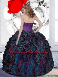 2021 Pretty Beading and Ruffles Quinceanera Dresses in Multi Color