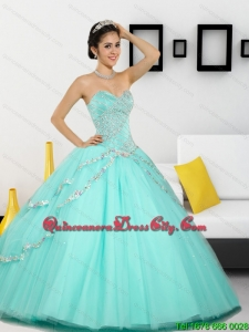 2021 Top seller Beading Sweetheart Quinceanera Dresses in Apple Green