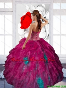 2021 Unique Sweetheart Appliques and Ruffles Sweet Sixteen Dresses in Multi Color