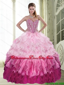 Elegant Sweetheart Beading and Ruffled Layers Multi Color Quinceanera Dress for 2022