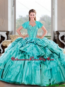 Elegant Sweetheart Beading and Ruffles Turquoise Quinceanera Dresses for 2015 Spring