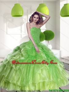 Fashionable Spring Green 2015 Quinceanera Dress with Beading and Ruffles