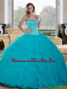 Modern Beading and Ruffles Sweetheart 2015 Quinceanera Dresses in Teal