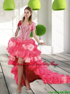 New Style Coral Red High-low Dama Dresses with Beading and Ruffled Layers