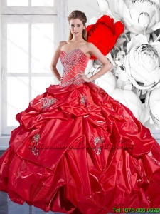 Top seller Pick Ups and Appliques 2015 Red Quinceanera Dresses with Brush Train