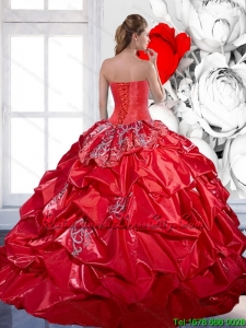 2021 In Stock Beading and Appliques Red Quinceanera Dresses with Brush Train and Pick Ups