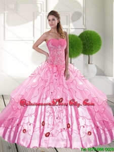 In Stock Sweetheart 2015 Quinceanera Dresses with Appliques and Ruffled Layers
