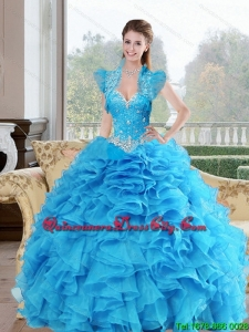 Luxurious Beading and Ruffles Sweetheart 2015 Quinceanera Dresses in Baby Blue