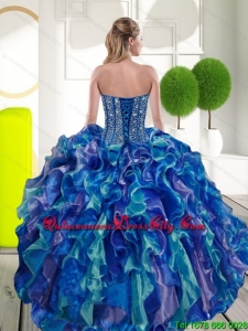 Luxurious Beading and Ruffles Sweetheart 2015 Quinceanera Dresses in Multi Color