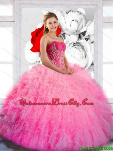 Luxurious Strapless 2015 Quinceanera Gown with Ruffles and Appliques