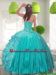 Spring Beading and Ruffles Strapless Aqua Blue Quinceanera Dresses for 2022
