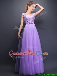 Unique V Neck Tulle Dama Dress with Beading and Bowknot