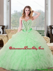 2021 Spring Beading and Ruffles Sweetheart 2021 Quinceanera Dresses in Apple Green
