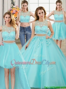 Beautiful Applique Zipper Up Brush Train Removable Quinceanera Gowns in Aqua Blue