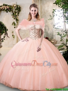Discount See Through Scoop Big Puffy Detachable Quinceanera Dresses in Peach