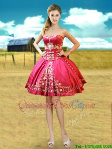 Hot Sale Taffeta Hot Pink Detachable Quinceanera Dresses with Embroidery and Beading