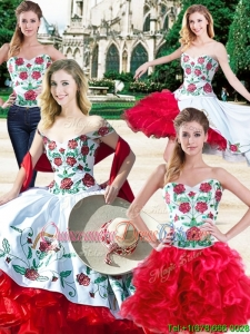 Most Popular Ruffled Layers and Embroideried Detachable Quinceanera Dresses in Organza and Taffeta