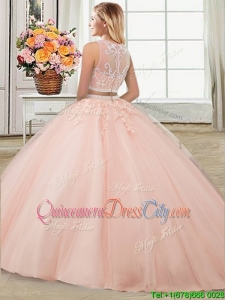 New Style Applique and Beaded Aquamarine Detachable Quinceanera Dresses with Brush Train