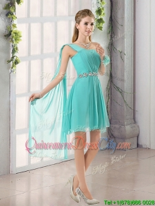 2022 A Line Ruching Lace Up Bridesmaid Dress in Aqua Blue