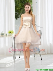 Champagne Chiffon Lace Up Dama Dress for 2020