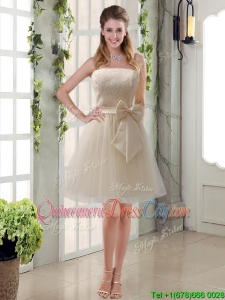 Elegant Princess Mini Length Lace Bridesmaid Dress with Bowknot