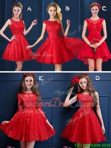 New Style Scoop Red Bridesmaid Dresses with Lace