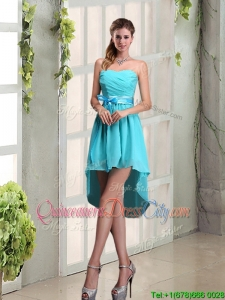 Ruching A Line Chiffon Lace Up Dama Dress