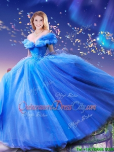 2022 Summer Elegant Hand Made Flowers Cinderella Quinceanera Dresses in Blue