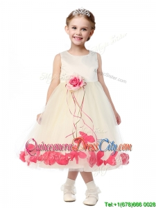 Best Scoop Pageant Dresses for Kid with Red Hand Made Flowers