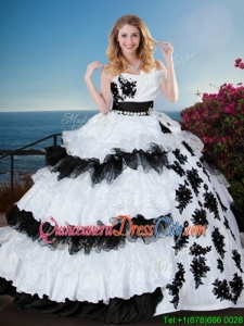 Classical Applique and Ruffled Layers Black and White Sweet 15 Dress
