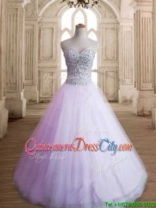 Discount Beaded Bodice Sweet 15 Dress in Tulle for Spring