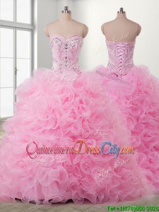Unique Beaded and Ruffled Detachable Quinceanera Dress in Baby Pink