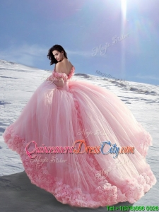 2020 Beautiful Off the Shoulder Cap Sleeves Tulle Quinceanera Dresses with Hand Made Flowers