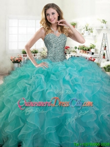 Simple Beaded and Ruffled Turquoise Quinceanera Dress in Organza