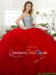 Wonderful Sweetheart Beaded Bodice and Ruffled Quinceanera Dress in Tulle