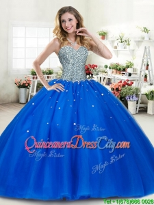 Lovely Beaded Bodice Tulle Quinceanera Dress in Royal Blue