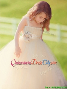 Lovely Straps Champagne Tulle Little Girl Pageant Dress with Hand Made Flowers
