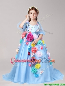 Discount V Neck Half Sleeves Baby Blue Little Girl Pageant Dress with Hand Made Flowers
