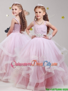 Fashionable Straps Baby Pink Little Girl Pageant Dress with Beading and Ruffles