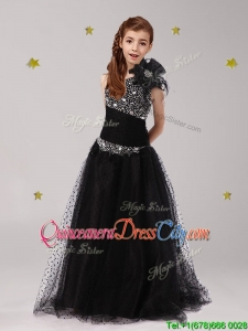 Pretty One Shoulder Beaded and Bowknot Flower Girl Dress in Black